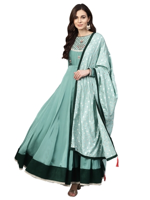 Green Silky Georgette Embroidered Kurta Dupatta Set