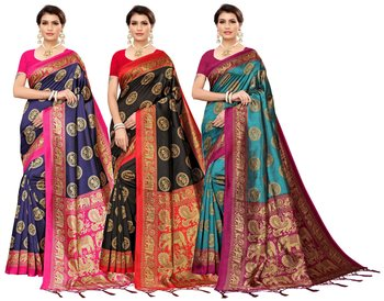 MULTICOLOR PRINTED ART SILK SAREE WITH BLOUSE PACK OF-3 SAREE