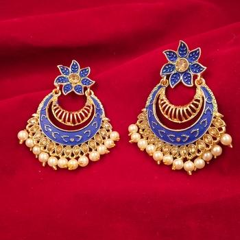 Saizen Gold Plated Meenakari Traditional Dangler Chandbali Pearl Earring