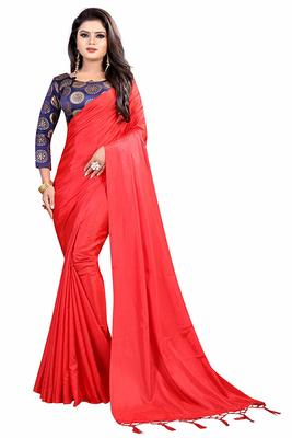 Red hand woven silk saree with blouse
