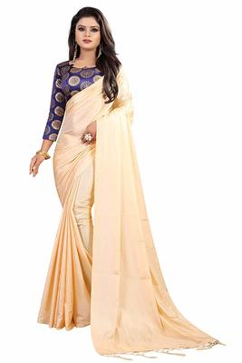 Cream hand woven silk saree with blouse