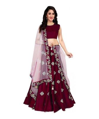 maroon embroidered art silk semi stitched lehenga
