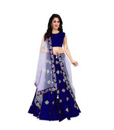 blue embroidered art silk semi stitched lehenga