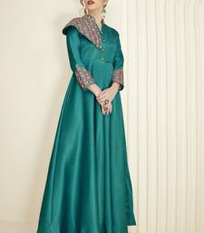 Dark-green embroidered silk long-kurtis