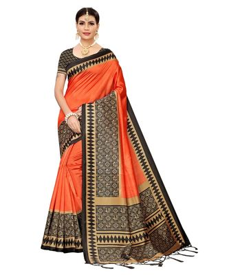Orange  printed Art Silk saree with blouse