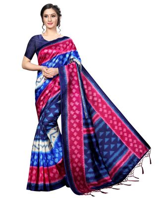 Blue printed Art Silk saree with blouse