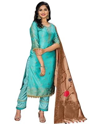 Blue Printed Faux Fancy Fabric Salwar