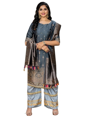 Grey Printed Faux Fancy Fabric Salwar