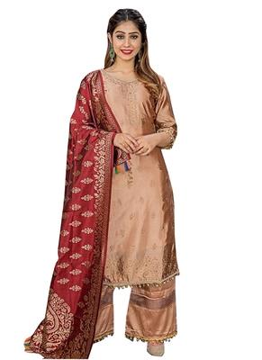Brown Printed Faux Fancy Fabric Salwar