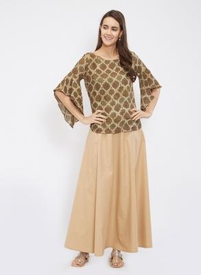 Beige Chanderi Skirt