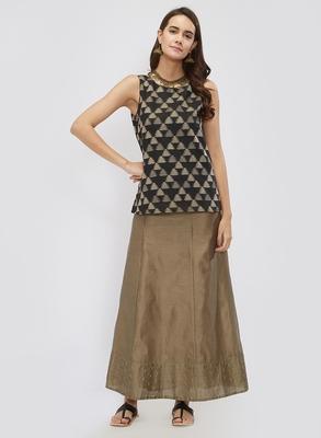 Mud Grey Chanderi Skirt