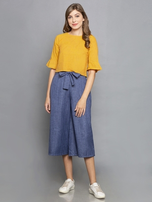 Blue Culottes with belt