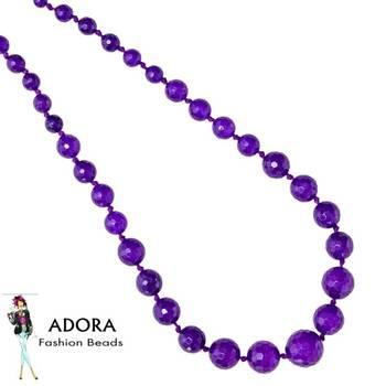 Amethyst Jade facets Round Necklace