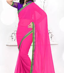 Buy Pink embroidered Chiffon saree with blouse bridal-saree online