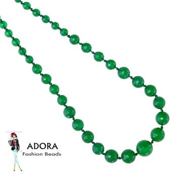 Green Jade facets Round Necklace