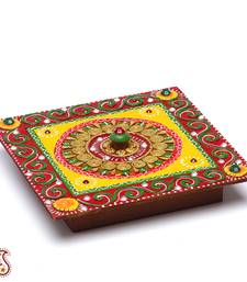 Buy Multipurpose Handmade wood and clay Square box housewarming-gift online
