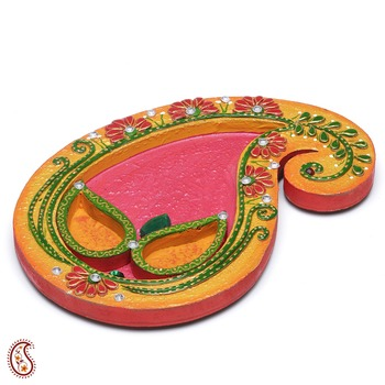 Keri Design Arthi Thali Crafted In Wood With Clay And Paint Work