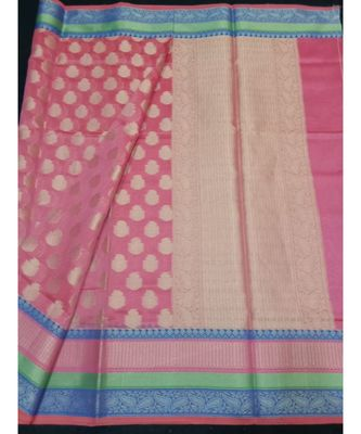 pink woven banarasi cotton saree with blouse