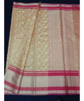 Brown woven banarasi cotton saree with blouse