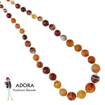 Multi agate  facets Round Necklace