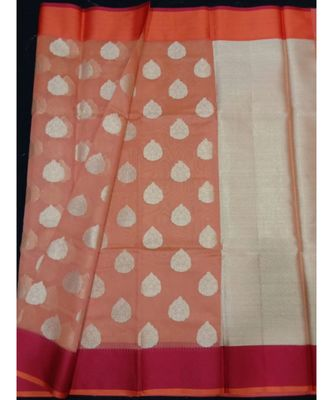 Peach woven banarasi cotton saree with blouse