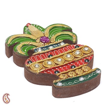 Kalesh Design Wood And Clay Jewelry Box