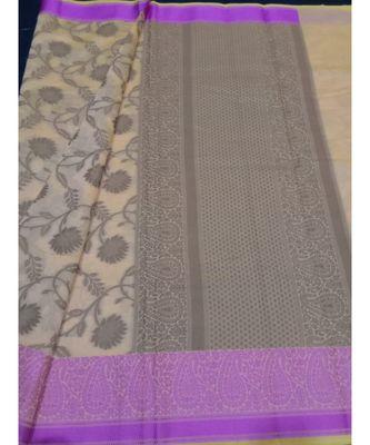 Beige woven banarasi cotton saree with blouse