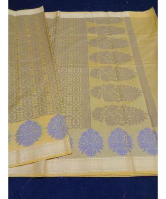 Yellow woven banarasi cotton saree with blouse