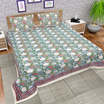 Premium Jaipuri Hand Block Printed Traditional 300TC Cotton King Bedsheet with 2 Pillow Covers