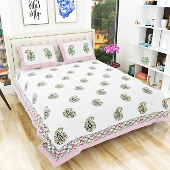 Traditional Rajasthani Hand Print King Size 300TC Bedsheet with 2 Pillow Covers (100% Cotton)