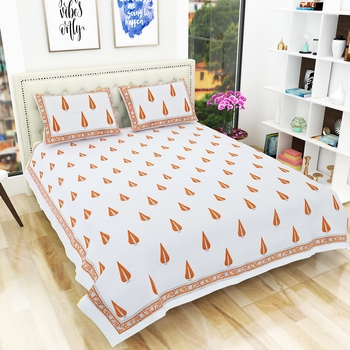 Premium Hand Block Printed Rajasthani Traditional Double Bedsheet with 2 Pillow Covers