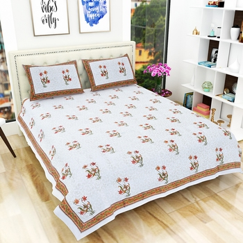 Jaipuri Premium Quality Hand Printed King Size Bedsheet with 2 Pillow Covers