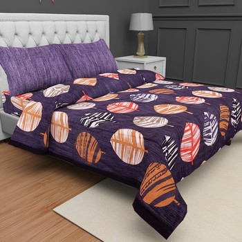 Printed Jaipuri Cotton Procion Premium Double Bedsheet with 2 Pillowcovers
