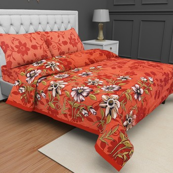 Printed Jaipuri Cotton Procion Premium Double Bedsheet with 2 Pillowcovers