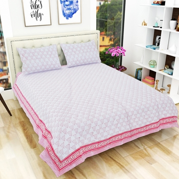 100% Cotton Premium Hand Printed Jaipuri King Size Bedsheet with 2 Pillow Covers