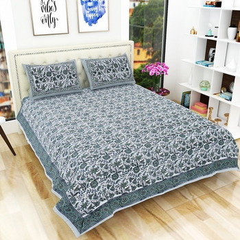Traditional Hand Block Printed Jaipuri 300TC Double Bedsheet with 2 Pillow Covers