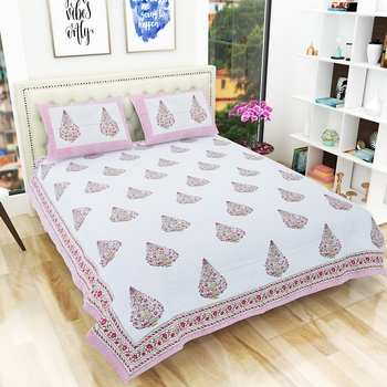 300TC Hand Printed Rajasthani King Bedhseet with 2 Pillow Covers