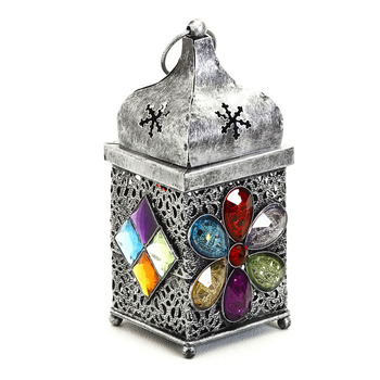 Silver Finish Gun Metal Tea Light Holder With Colored Glass Stone
