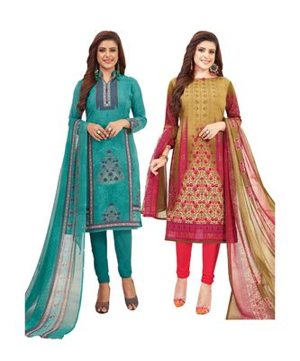 multicolor printed synthetic unstitched salwar with dupatta