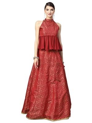 Maroon woven silk blend semi stitched lehenga