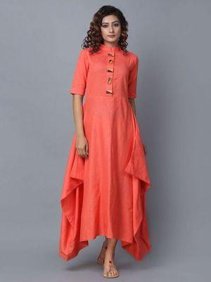 Orange plain cotton long-kurtis