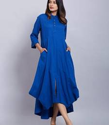 Blue plain cotton long-kurtis
