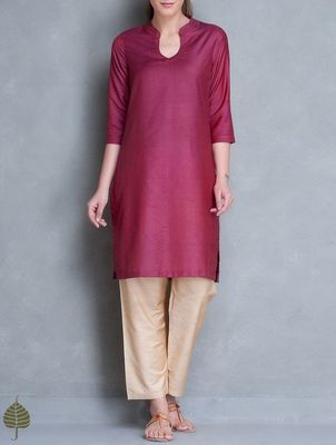 Maroon plain cotton long kurtis with pant