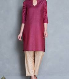 Maroon plain cotton long kurtis with pant