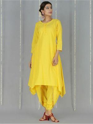 Yellow plain cotton long kurtis with pant
