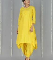 Yellow plain cotton long kurtis with pant