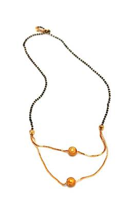 Gold tone layered single line mangalsutra