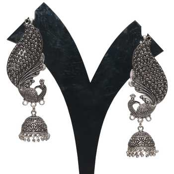 Oxidized Peacock motif full ear cover jhumki earrings