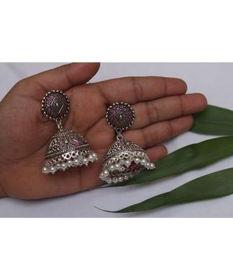 Pearl oxidized jhumki earrings with tinge of pinnk
