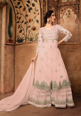 Light-pink embroidered net salwar